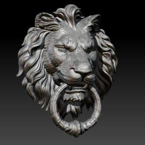 голова льва с кольцом